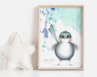 Super 'Me-ro' Art Print | Nursery Art Print | Boys Art Print | Fairy Wren Art | Bird Art | Neutral Kids Art | Kids Wall Art | Fine Art Print