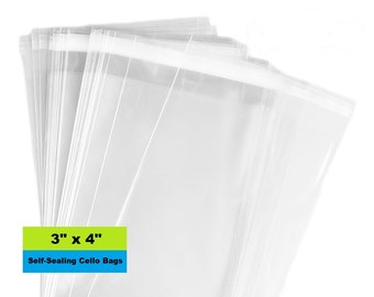 """Cello Bags, 3"""" x 4"""" Self Sealing Bags, Clear Cellophane Bags, Resealable, Poly Bags, Clear Bag, Product Packaging"""