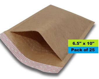 "Kraft Bubble Mailer, 6.5"" x 10"", Lightweight Padded Envelopes, Self Sealing, Bubble Envelopes, Paper Mailers"