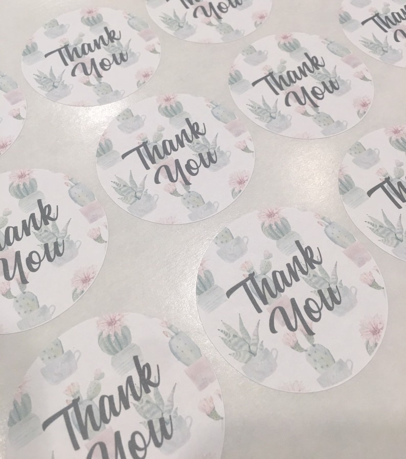2 Cactus Watermark Packaging Thank You Stickers Shipping Supplies