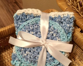 Washcloth and Face Scrubbie Set, hand crocheted, sail away, stripes