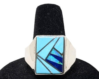 Terrific Santa Fe Style Kingman Blue Turquoise Curved Ring Size 6