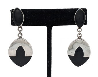 For Pierced Ears Jewelry Black Onyx Silver Stamped MEXICO 925 TS-66 Post Oval Earrings Vintage Sterling Earrings Mexican Bold Large