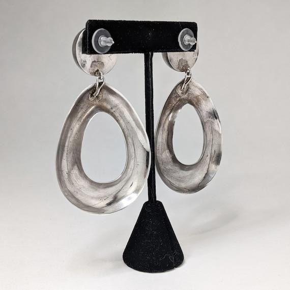 Vintage ZINA 1980s Earrings / HUGE Sterling Silve… - image 4