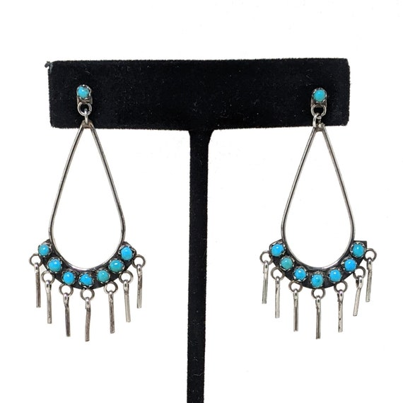 Vintage ZUNI Earrings / Turquoise PETITE POINT Sil