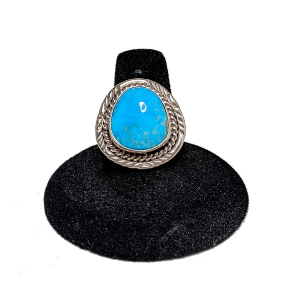 TURQUOISE Sterling Ring 9 /  Blue Turquoise Ring S