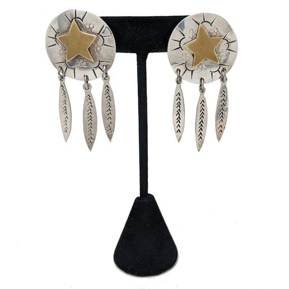 Taxco STAR Silver Earrings / Sterling & Brass Earr
