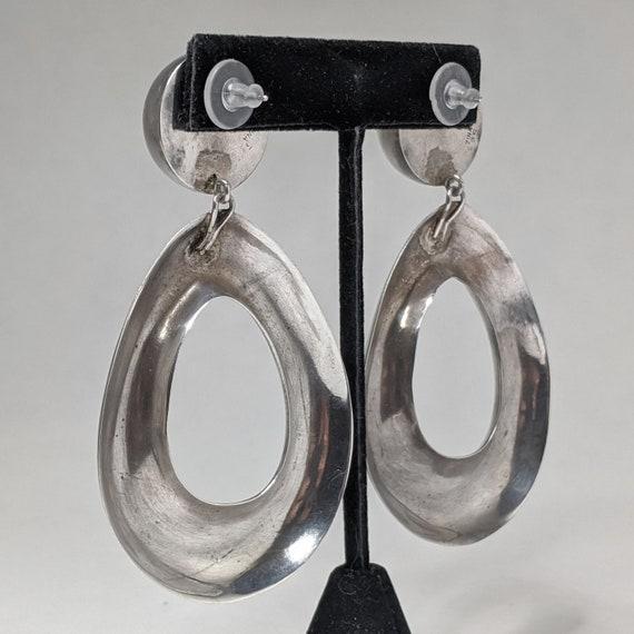 Vintage ZINA 1980s Earrings / HUGE Sterling Silve… - image 5