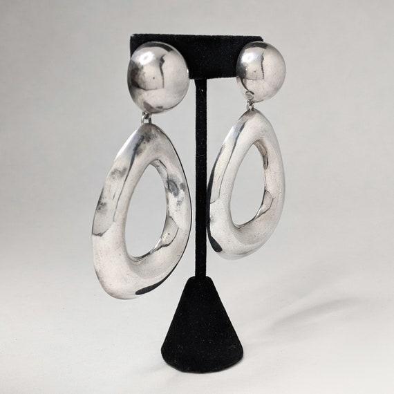 Vintage ZINA 1980s Earrings / HUGE Sterling Silve… - image 3