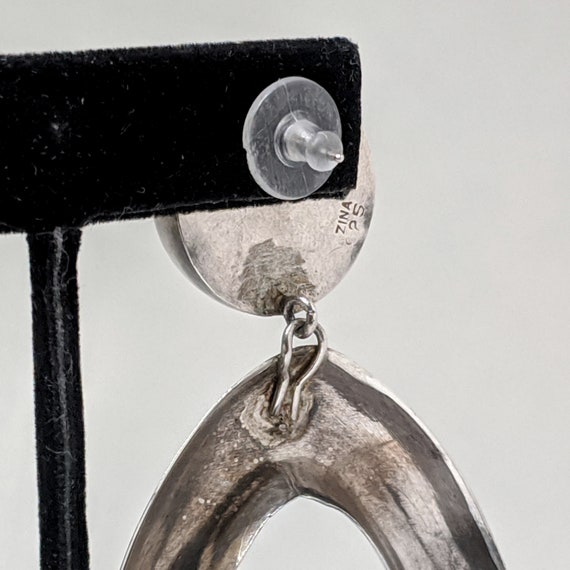 Vintage ZINA 1980s Earrings / HUGE Sterling Silve… - image 6