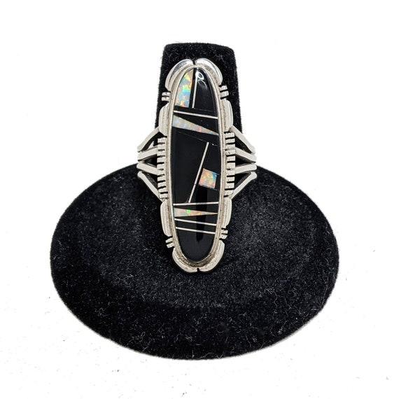 Navajo Onyx Ring 9 / James Francisco JF Inlay Jewe
