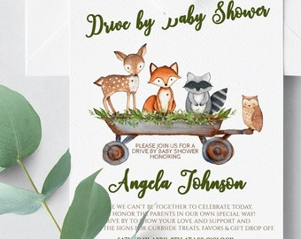 Woodland Drive By Baby Shower Invitation / Virtual Baby Shower / Drive By Invite / Gender Neutral, Boy Girl, Fox, Editable Invitation WD12