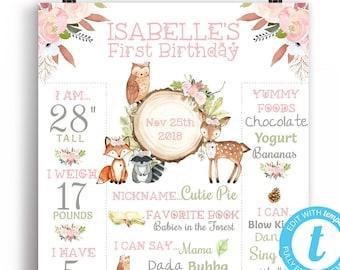 First Birthday Milestone Board Girl, Woodland First Birthday Pink Woodland Chalkboard Wild One 1st Birthday Sign Templett 16x20 or 8x10 WD10