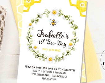 1st Bee Day Invitation / Bee Birthday Party / Hunny Bee Birthday / Printable Template / Digital Download / Girl Boy / Template Corjl, BEE1