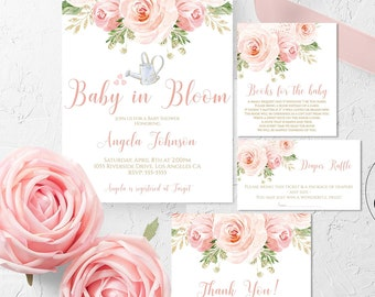 Baby in Bloom Baby Shower Invitation Set Girl Diaper Raffle Books Thank You Blush Pink Gold Floral Editable Template Printable Download BLG1