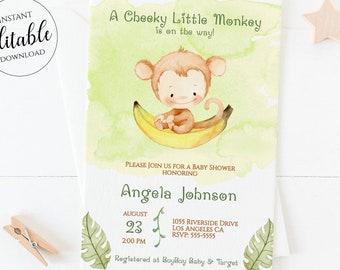Monkey Baby Shower Invitation Boy Girl Gender Neutral Little Monkey Jungle Animal Invites Safari Editable Template Printable Corjl MK1