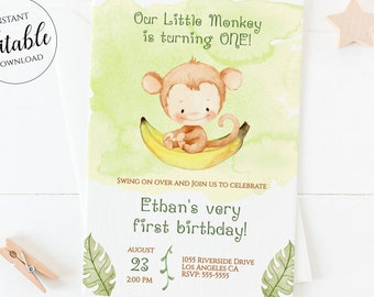Monkey First Birthday Invitation Boy / Jungle Animal First Birthday / Safari 1st Birthday Invitation Editable Template / Little Monkey / MK2