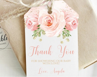 Editable Baby Shower Favor Tags Girl Printable Thank You Tags Instant Download, Blush Pink Gold Floral From my Shower to Yours Template BLG1