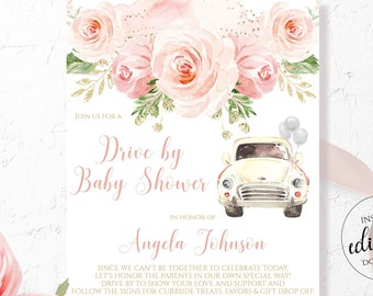 Drive By Baby Shower Invitation Girl / Quarantine Baby Shower / Blush Pink Floral Pink Gold Invites  / Digital Printable Download Corjl BLG1