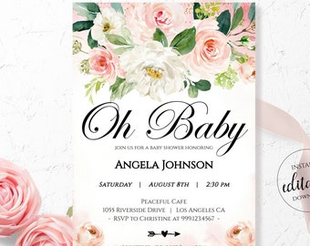 Pink Floral Baby Shower Invitation, Oh Baby Invitation, Blush Pink and Gold Invites Girl / 5x7 Invitation Template / Editable Download PF01