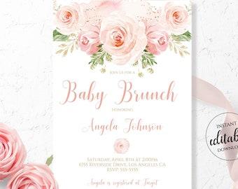 Baby Brunch Invitation / Baby Brunch Shower / Blush Pink Baby Shower Pink Rose / Floral Invite Template Download / Boho Editable Corjl BLG1