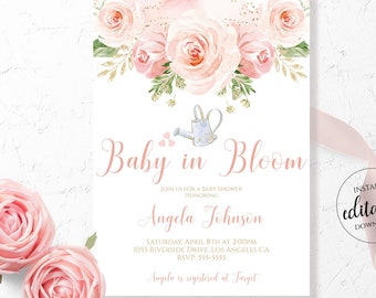 Baby in Bloom Baby Shower Invitation / Blush Pink Floral / Pink and Gold Invites Girl / Boho Editable Template Printable Download Corjl BLG1