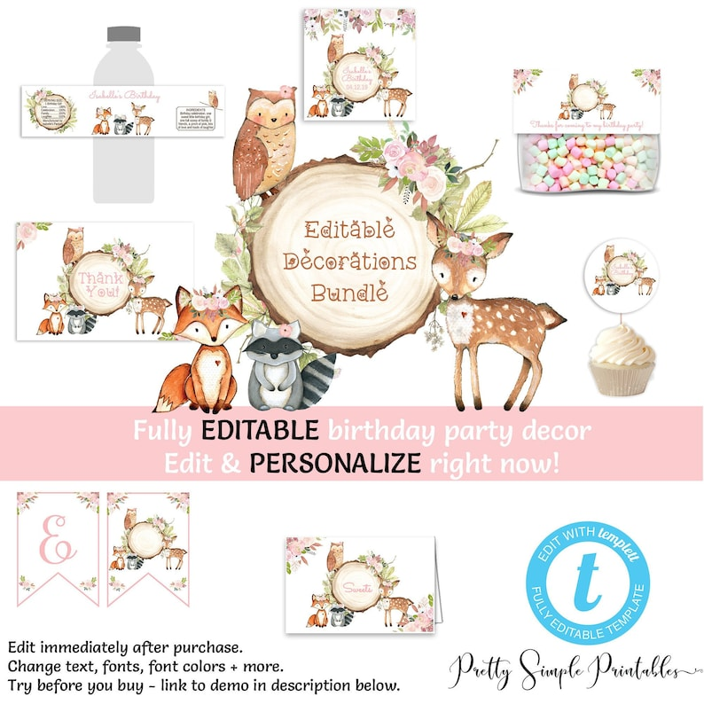 Woodland Birthday Decorations Girl EDITABLE Banner