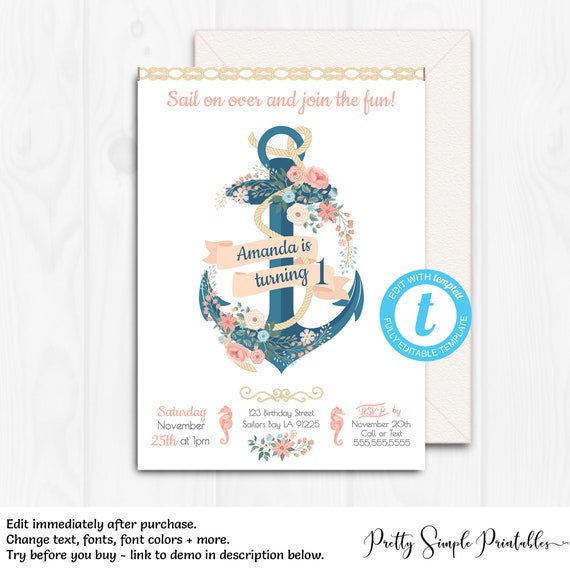 Nautical Birthday Invite Girl Anchor Invitation