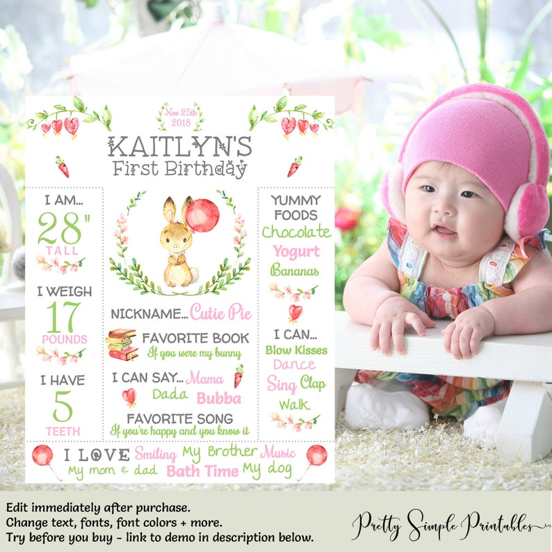 Bunny First Birthday, First Birthday Chalkboard Girl, Bunny Birthday  Poster, Template, Sign, Some Bunny is one Chalkboard, Download, BUN1