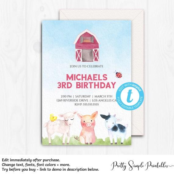 Farm Birthday Invitation Boy Barnyard Party Invites