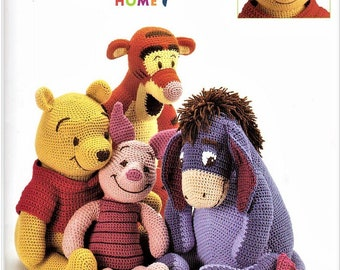 Winnie The Pooh and Friends Piglet, Eeyore And Tigger Vintage Crochet Pattern Book, Child's Toy,  Stuffy, PDF Instant Download Almost Free