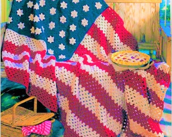 American Flag Independence Day Stars and Strips Crochet Afghan Throw Pattern Instant Download PDF Almost Free
