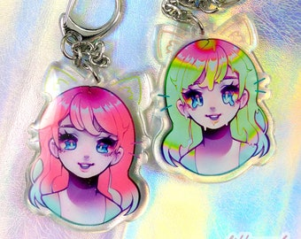 Melty Girl 2 inch Double-sided Charm w/ Glitter Epoxy