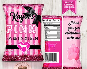 e6100cd3cb Victoria s Secret Pink Favor Bags-Custom Chip Bags-Pink Birthday-Pink Party- Digital-Printable-Printed-Chip Bags