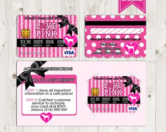 4fd621009c21 Victoria Secret Love Pink Credit Card Invitation - Birthday Invitations -  Sweet Sixteen Party - Printable - Digital