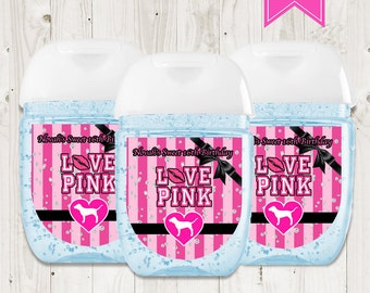 7181d6bd79 Victoria Secret Love Pink Hand Sanitizer Labels - Love Pink Birthday-Birthday  Party Favors - Sweet Sixteen- Printable Labels