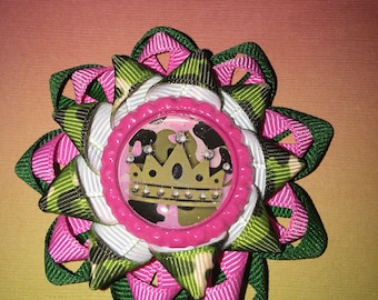 """Pink, green and camo 2.5"""" bow"""