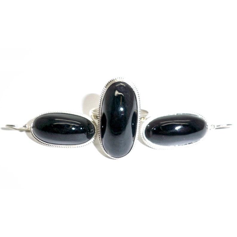 Black Nephrite Jade Ring Earrings Russian Siberian Stone