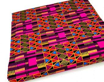 African Fabric by the Yard   Metallic Ankara Kente Print Per Yard   Geometric Pink Ankara   Magenta Blue   Mask Head Wrap Quilt