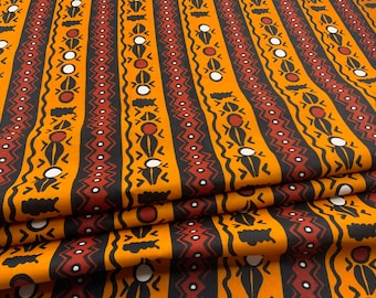 African Fabric Ankara Head Wrap Masks Rust Farmhouse Minimalist Aztec Boho Upholstery Drapery Rustic Mud Cloth Print Fabric by the Yard