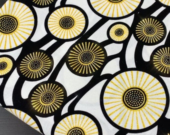 Black Gold Metallic Fabric By The Yard, 100% Cotton Ankara Print African Mask Head Wrap, Boho Decor Upholstery, Quilting Circular Geometric