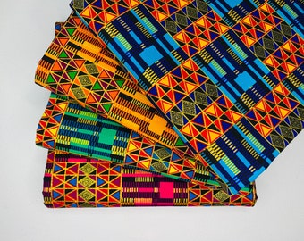 African Kente Fabric by the Yard, Metallic Gold Ankara Print Quilting Patchwork Craft Head Wrap Mask Scrub Hat Geometric Abstract Home Decor
