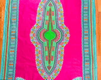 Pink Green African Fabric Panel , 100% Cotton Ankara Print, Quilting Patchwork, Craft, Abstract Boho Home Decor Head Wrap Mask Clothing