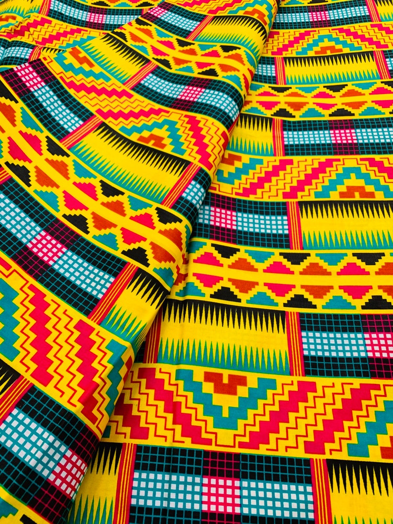 Kente Ankara Print Cotton Quilting Patchwork Clothing Masks Head Wrap Boho Home Decor Geometric Abstract Yellow African Fabric by the Yard