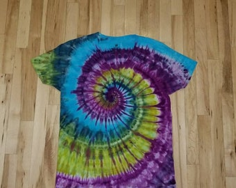 11a1da22 Bright tie dyed t-shirt size large, tie dye t-shirt, tie dye shirt, purple tie  dye, blue tie dye, green, spiral toe dye, festival