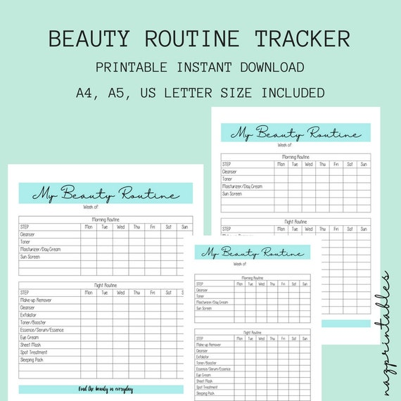 printable beauty routine beauty tracker skincare tracker etsy