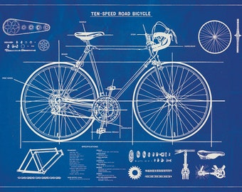 Blueprint poster etsy bicycle blueprint posterwrap malvernweather Choice Image