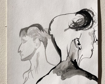 Male and female portrait study, ORIGINAL ink on A4