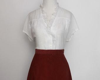 Vintage handmade rust corduroy skirt