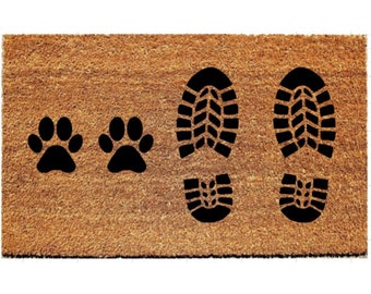 Boots with Dog Paws Doormat | Cowboy Boots Doormat |